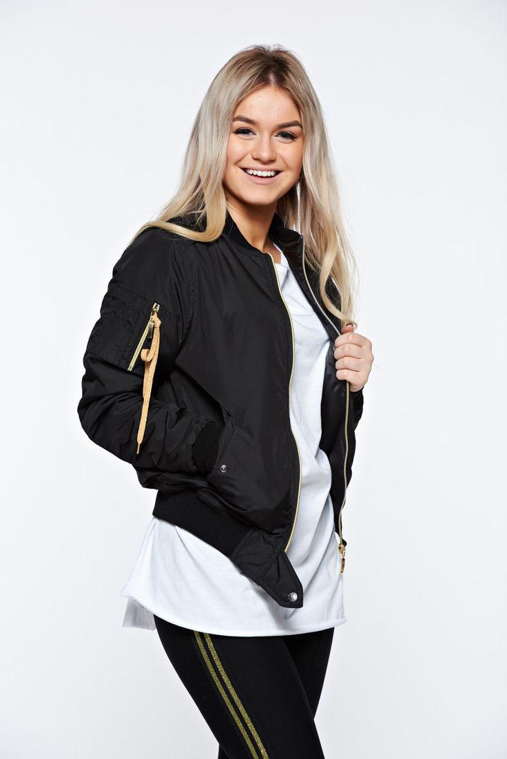 MissQ black jacket casual embroidered with zipper details pockets, graphic print, zipper fastening, zipper details pockets, women`s jacket