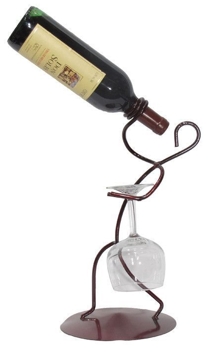 Iron Borracho Stem 1 Bottle Tabletop Wine Rack