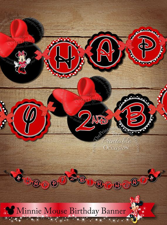 PRINTABLE Red Minnie Mouse Happy Birthday Banner, Minnie