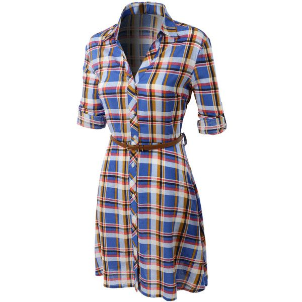 LE3NO Womens Flowy Button Down Plaid Shirt Dress ($39) ❤ liked on Polyvore featuring dresses, plaid dress, shirt-dress, plaid shirt dress, long shirt dress and oversized dress