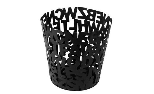 """#Papelero """"Objetos"""" negro, metalico tiene una altura de 25 cms, y su diametro superior es de 25cms. también. Puedes encontrarlo en #surdiseño y #mueblessur"""