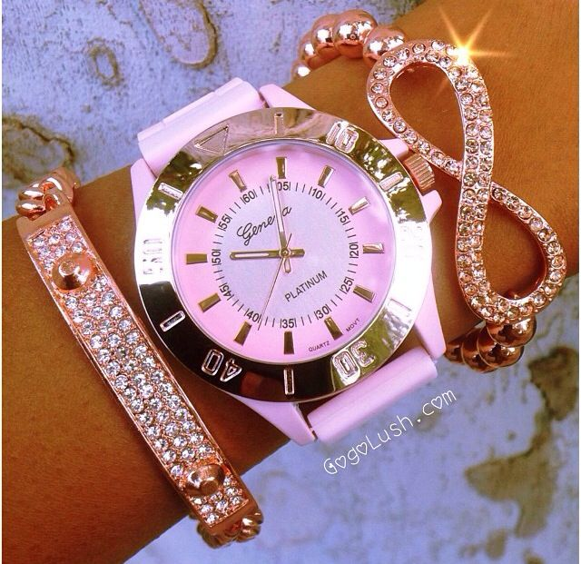 Very Pretty Bracelet And Watch. I Love The Infinity Bracelet... And Its Pink!