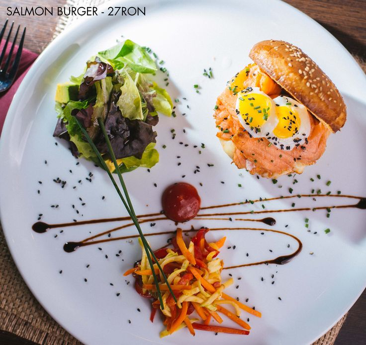 Salmon Burger - Give beef a break and try this healthy salmon burger with a nice avocado salad on the side