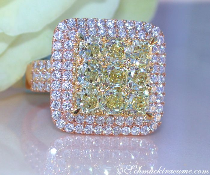Exquisiter gelbe Diamanten Ring mit Brillanten » Juwelier Schmucktraeume.com