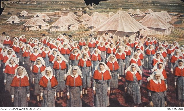 Nurses of the 2/5th AGH on parade in Palestine, awaiting inspection by Matron (later Lieutenant Colonel) Kathleen Best. 1945