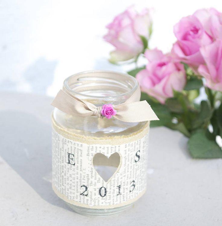 Personalised. Mod podge decorated jar