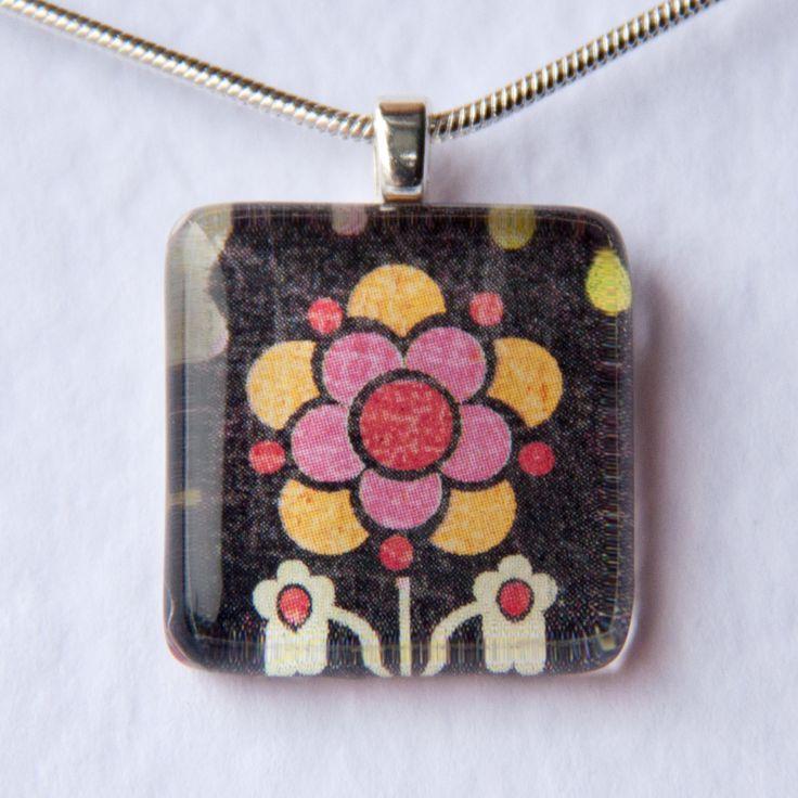 Handmade Glass Tile Black Flower Pendant - pinned by pin4etsy.com