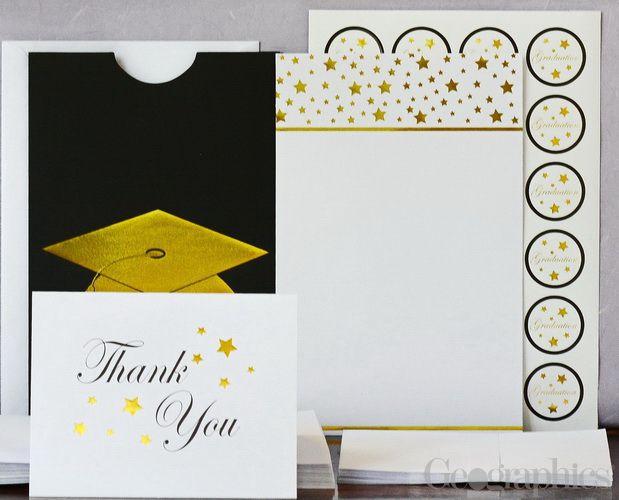 Graduation Cap Deluxe Invitation Kit, Gold Foil, Set of 24, 144 Pieces/PK