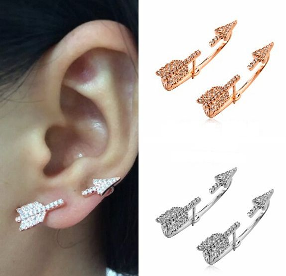 Arrow Earrings With Zircons, Ear Cuff Arrow Earrings, Ear Jacket Earrings on Luulla