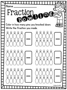 Fractions Bowling Fun! Practice fractions with this fun little activity.You need a set of 10 bowling pins and a ball for kids to play.Check out my Fractions blog postfor directions and other fun fractions tips :)Enjoy!For A LOT of great fractions resources, check out:First Grade Math Unit 18Equal Parts or Unequal Parts Cut and Paste WorksheetsHalf or Fourth Cut and Paste SortsFractions WorksheetsFractions Differentiated BooksFractions Cut and Paste
