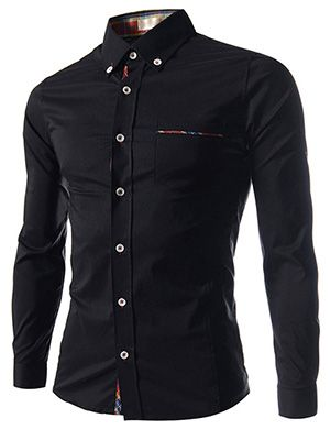 (EVS70-BLACK) Slim Fit Stretchy Checker Patched 1 Chest Pocket Long Sleeve Shirts
