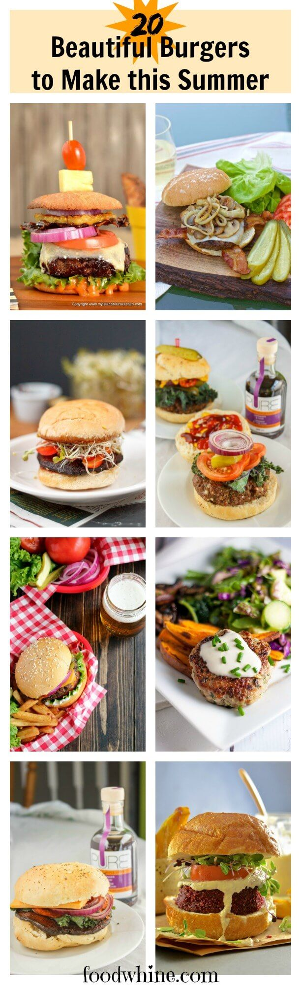 20 beautiful burgers you're going to want to make this summer. Includes a printable template for endless burger possibilities.