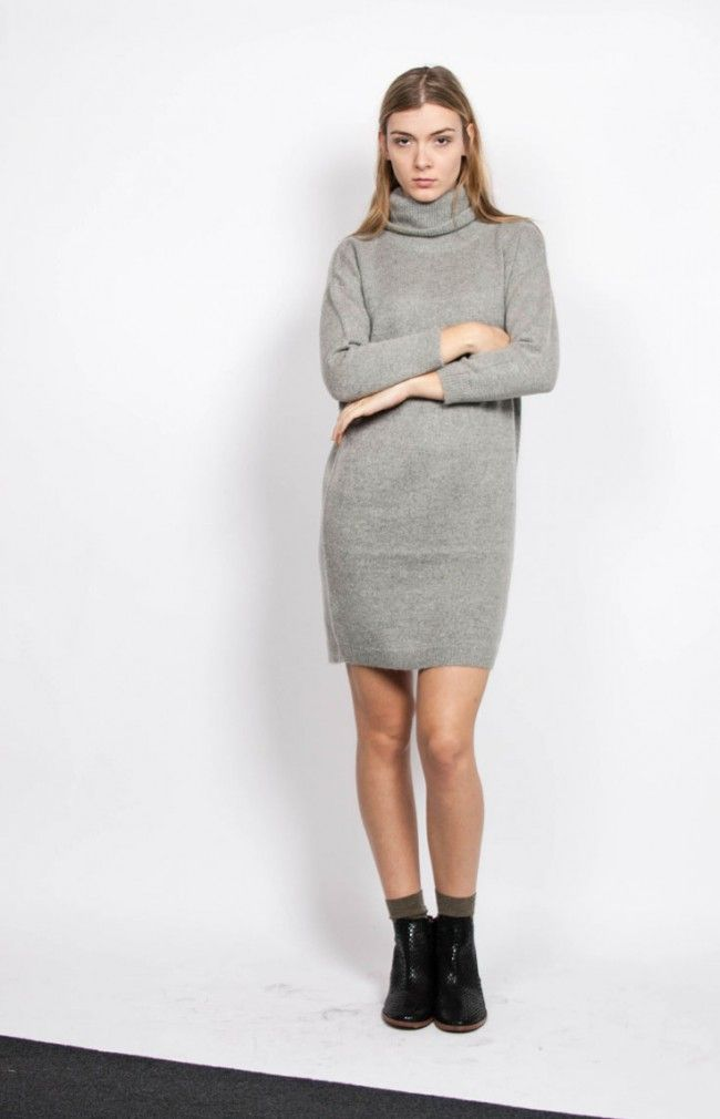 JORDAN Knit sweater with an oversized roll-neck. #anglestore #dress #simple #grey #fashion