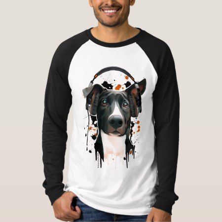 Dog with headphones. music lover T-Shirt - click/tap to personalize and buy