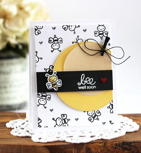 Bee Well Soon card by Laurie Schmidlin for Paper Smooches - Courteous Cuties stamps and dies