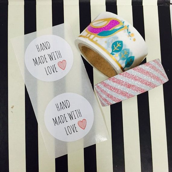 Hand made with love stickers,stickers,custom stickers, sticker maker, custom sticker, label,,wedding stickers, round labels,hand made labels