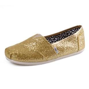 Cheap Youth Gold Glitters Toms Shoes