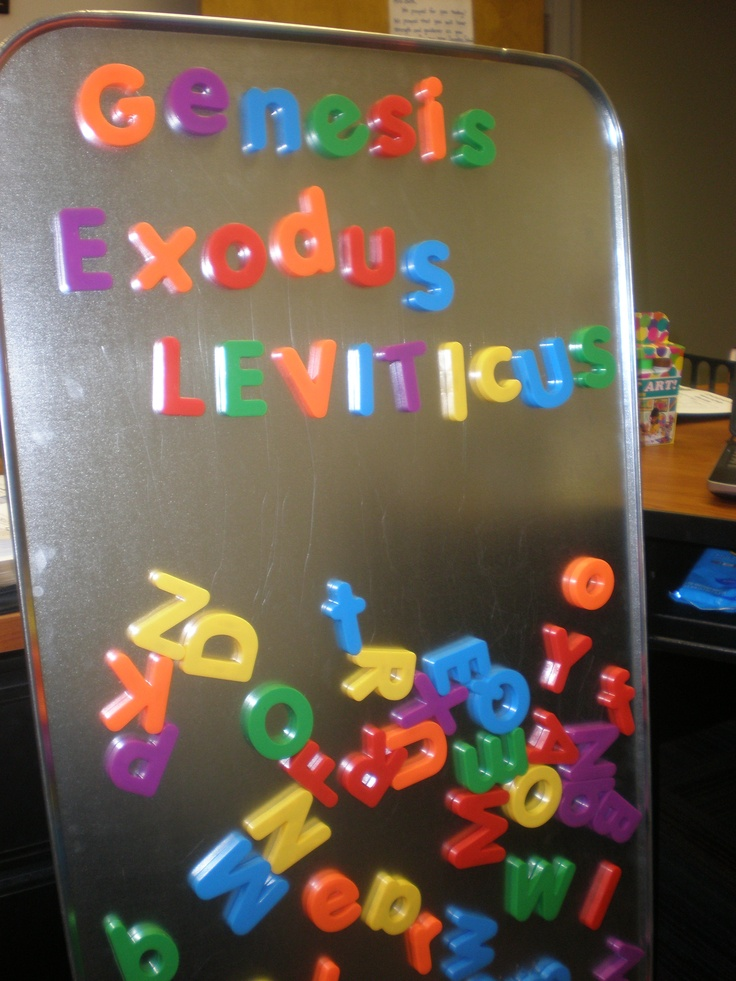 Minute to Win It game for Bible Skills this Sunday. Each team gets a point for every letter they use to spell out books of the Bible in one minute. Using an oil drip pan and magnetic letters. Should be fun!
