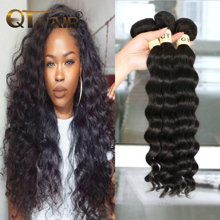 Qt Hair Company 3pcs Peruvian Virgin Hair Loose Deep Peruvian Curly Hair More Wave Peruvian Deep Body Wave Weave Human Hair