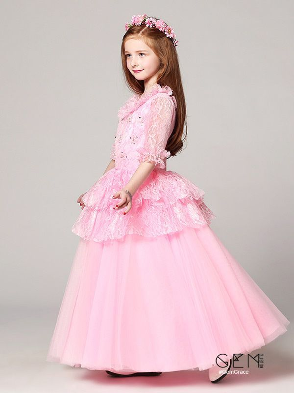 a184db83f Long Sleeves Lace Pink Ball Gown Flower Girl Dress with Jacket ...