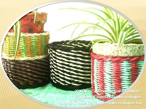 Cesto cuadrado tejido en papel. DIY Basket square weave paper - YouTube
