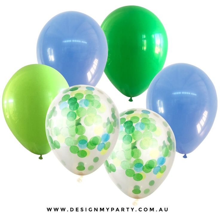Beach Life Periwinkle, Green, Blue Mix With 2 Confetti Balloons (12 Pack)