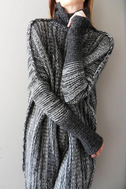 Women's Patchwork Turtleneck Sweater Tunic