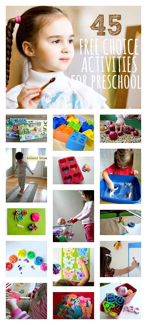 These could totally ALL be used at home with toddlers and preschoolers. Awesome list of kid activities. Free choice activities for preschool organized in the areas of learning. Great preschool blog!