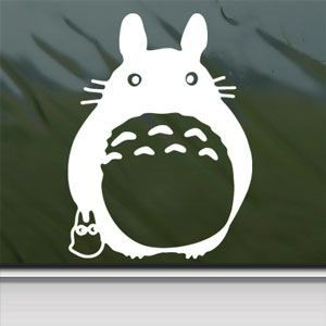 Totoro White Sticker Decal Ghibli Laputa Jdm Anime White Car Window Wall Macbook Notebook Laptop Sticker Decal:   Made and shipped in the USA. Durable vinyl decal sticker to be placed on any flat smooth surface etc, car, laptop, phone. Waterproof and made to last 7 years. Standard shipping size is 5.5 unless otherwise stated. Other sizes may be bought with request (may be an extra cost if larger). Color will be what the picture shows, but other colors are available upon request Black, ...