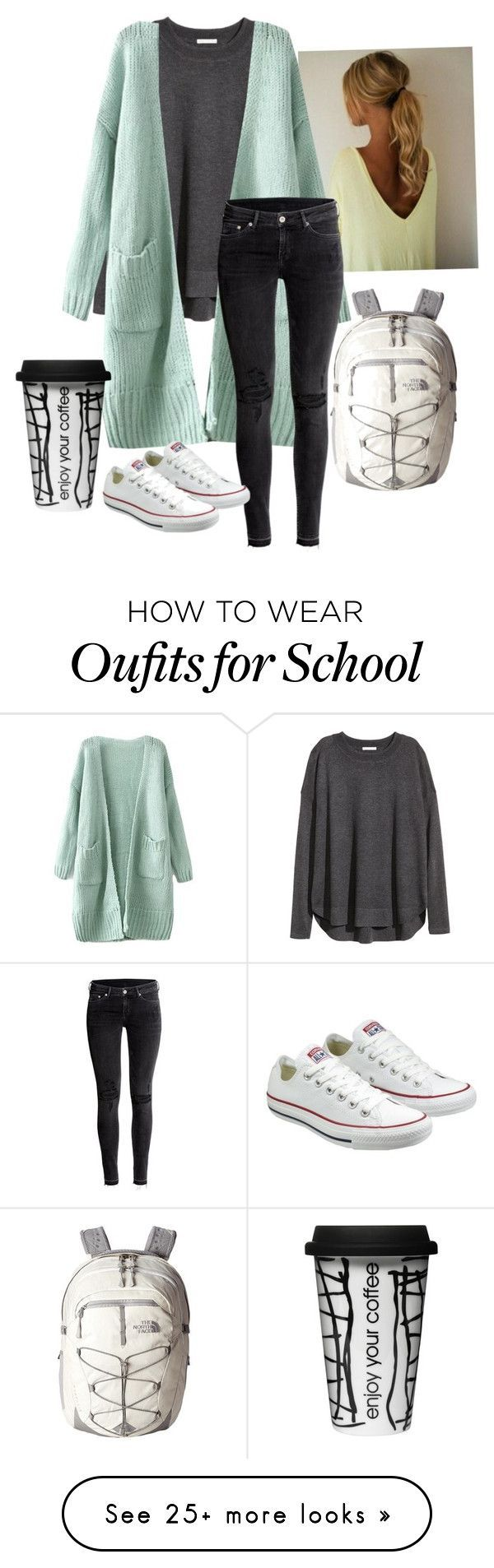 """comfy school day"" by multifandomtrash on Polyvore featuring H&M, Converse, The North Face and Dot & Bo"