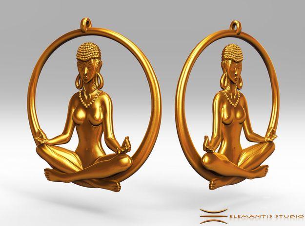 Sukhasana Yogini Earrings 4.5cm  in Raw Brass