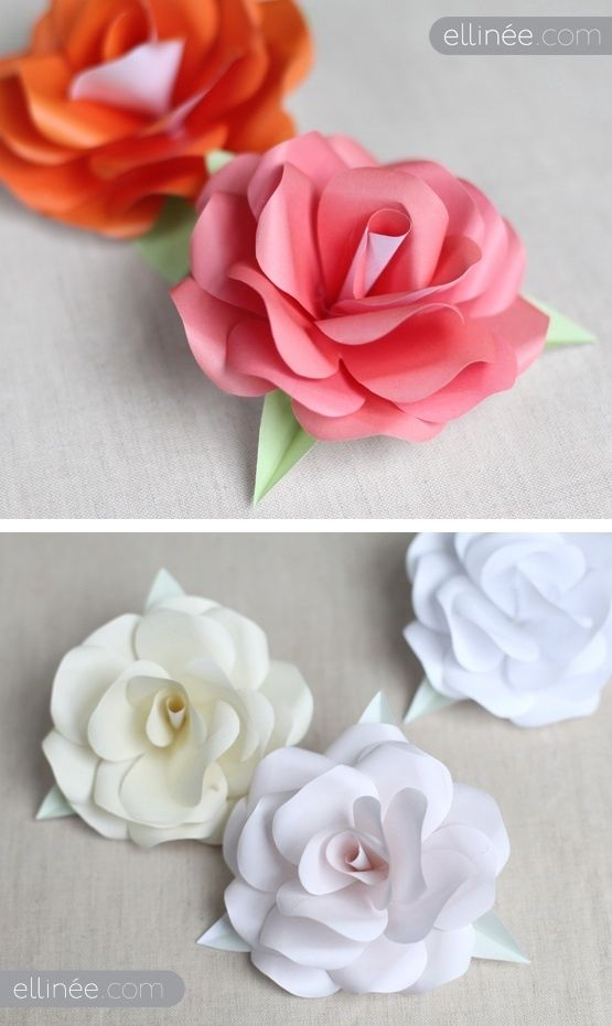 Takes maybe 30 min per flower to cut and assemble but good results. DIY - Paper Roses. Tutorial. Plus Free Rose Template PDF Printable.