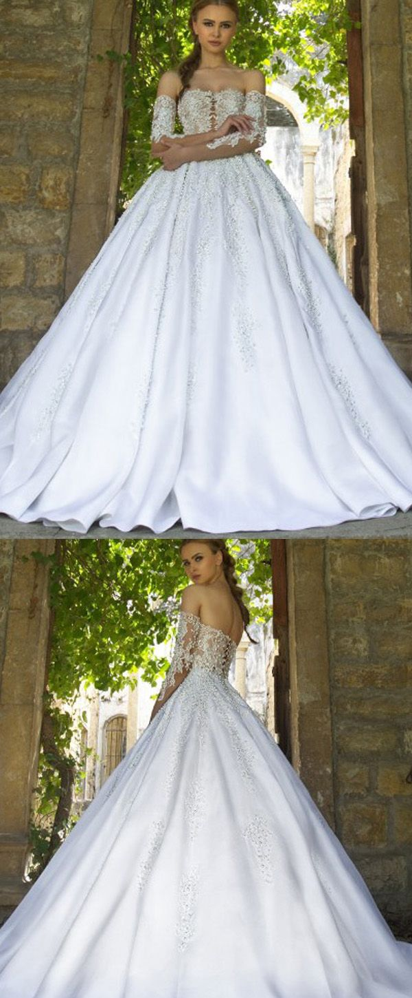 Fantastic Tulle Sweetheart Neckline Ball Gown Wedding Dresses Beaded With Lace Appliques