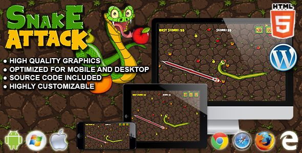 Snake Attack - HTML5 Survival Game . Snake Attack is a HTML5 survival game. Eat all the yummy fruits and become the biggest snake! But watch out for the pesky snakes that will chase you to kill you!  This game has been developed in HTML5/js and third-party library CreateJs – http://createjs.com/  (not Construct2 or other