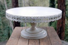 Vintage Metal Cake Stand White 22in