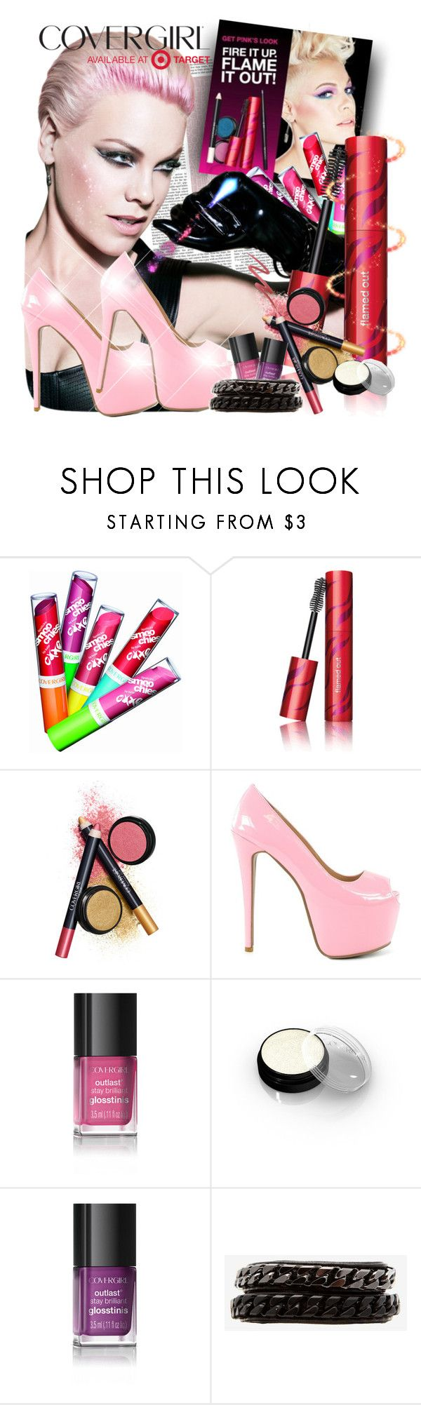 """Covergirl Flamed Out Bold"" by hellobrit ❤ liked on Polyvore featuring COVERGIRL, Nly Shoes, Vita Fede, target and flamedoutbold"