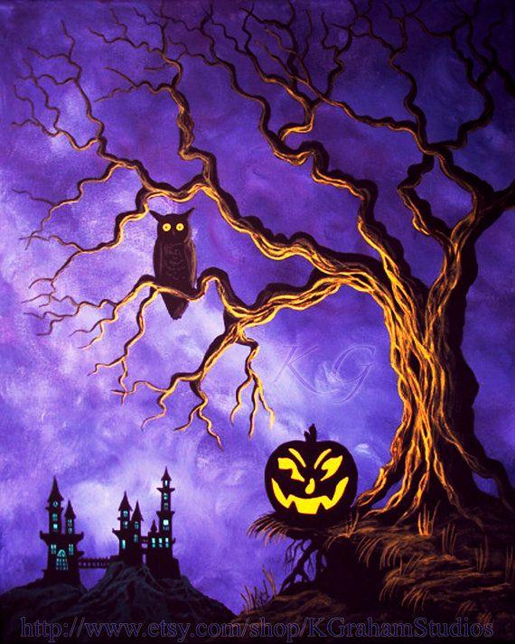 Gothic Castle Owl Halloween Fine Art Print of an Original Painting by K Graham Jackolantern Creepy Tree
