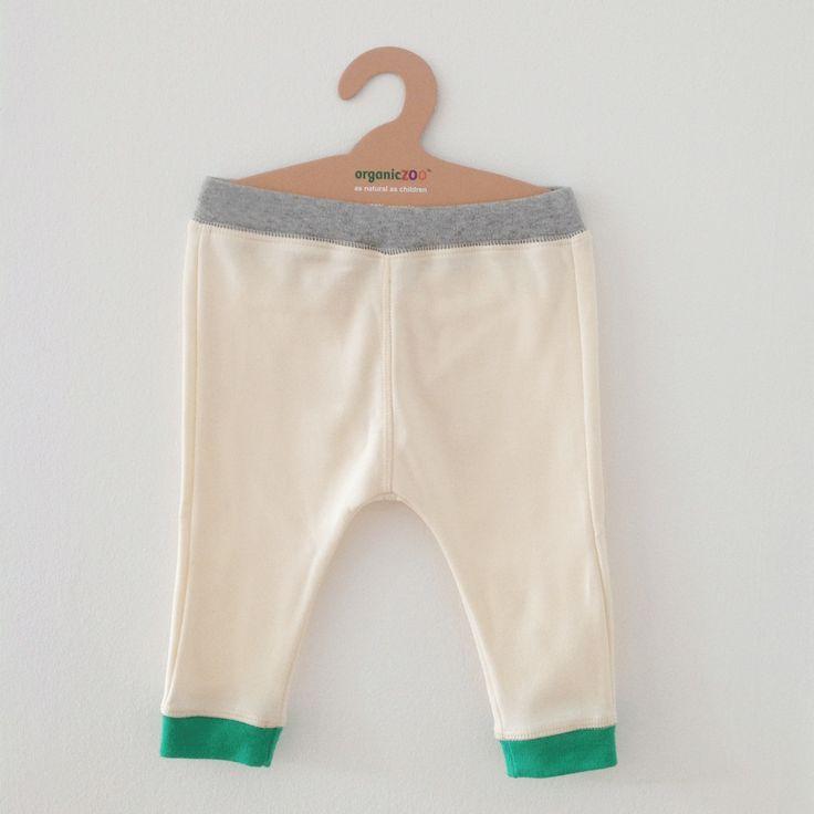 Organic Zoo Natural Pants with Green Cuffs - Le Petit Organic - 1