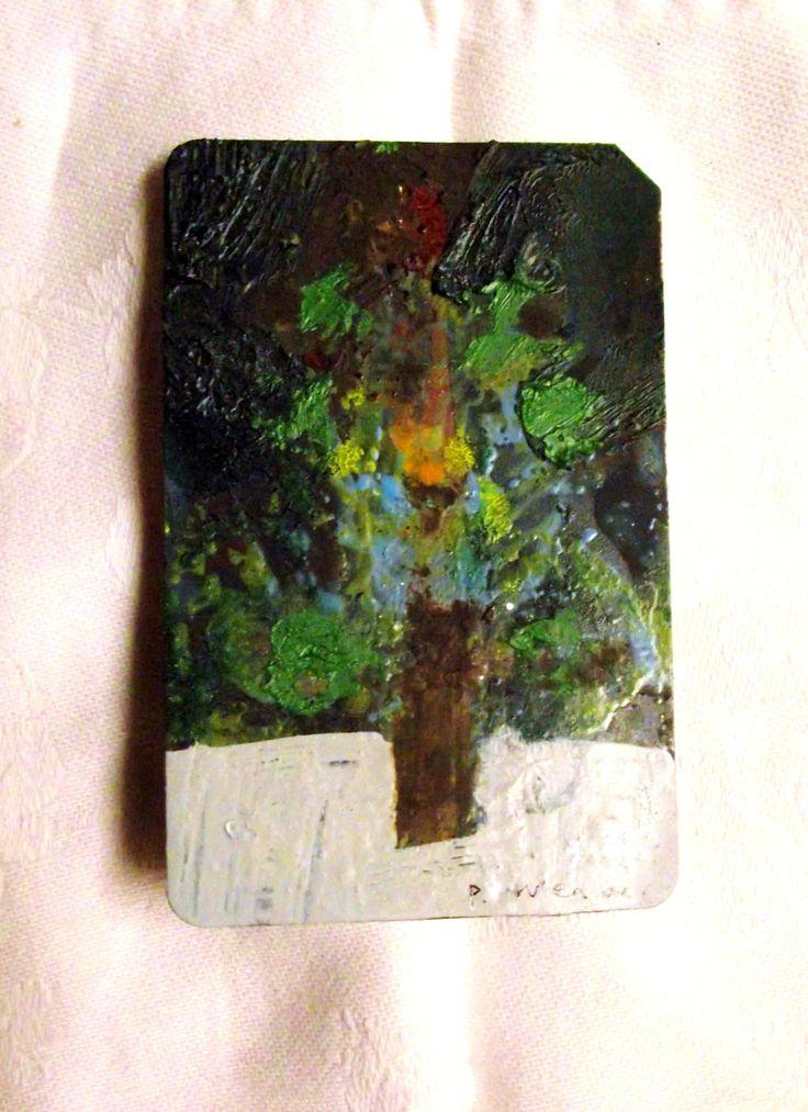 Bright Tree.  Oil on ticket.  Philip Weaver