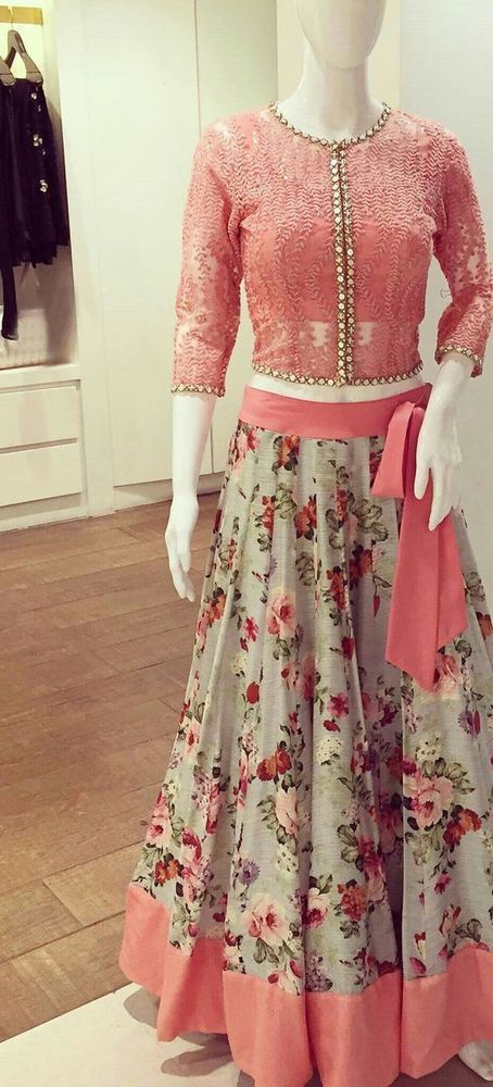 FatimaBi Floral Traditional Fashion Lehanga Choli Pink Engagement Party Dress  #FatimaBi #LehegaCholi