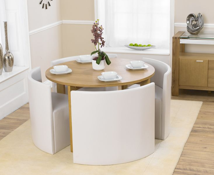 Dining Room, Sophisticated Dining Room Design With Modern Rounded Dining Table Coupled With Contemporary Dining Chairs Concept White Colored Plus Colorful Flowers Decoration Put In Small Vase: Simplicity of Dining Room Concept Apply Small Dining Table