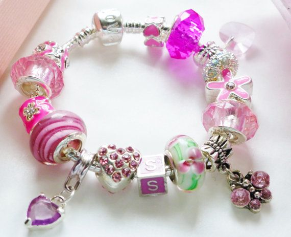 girls pink charm bracelet Alphabet letter initial by JewlsGifts