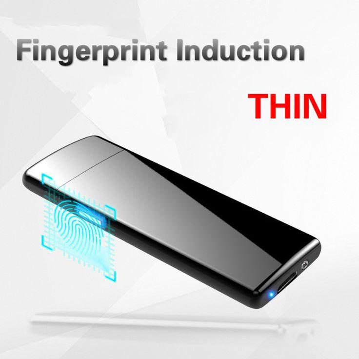 Ultra-sottile di Impronte Digitali Touch Sensor USB Accendisigari Ricaricabile Liscia E Macchia Più Leggero di Ricambio Electric Wire