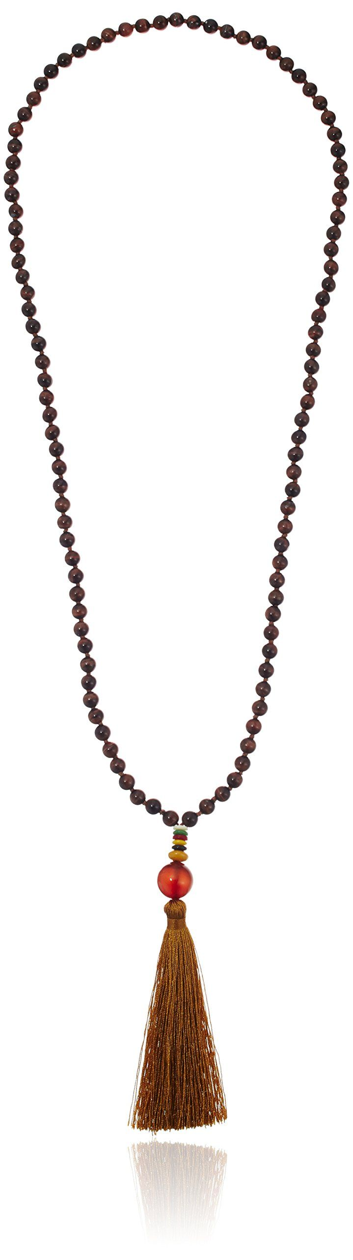 """Red Agate Bead with Dyed Marble Rondelles and Golden Tassel on Red Tiger's Eye Bead Strand Necklace, 30"""". Domestic."""