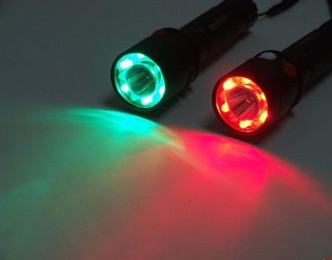 Flashlight :Signal light Green White Red LED Flashlight Torch Bright light signal lamp