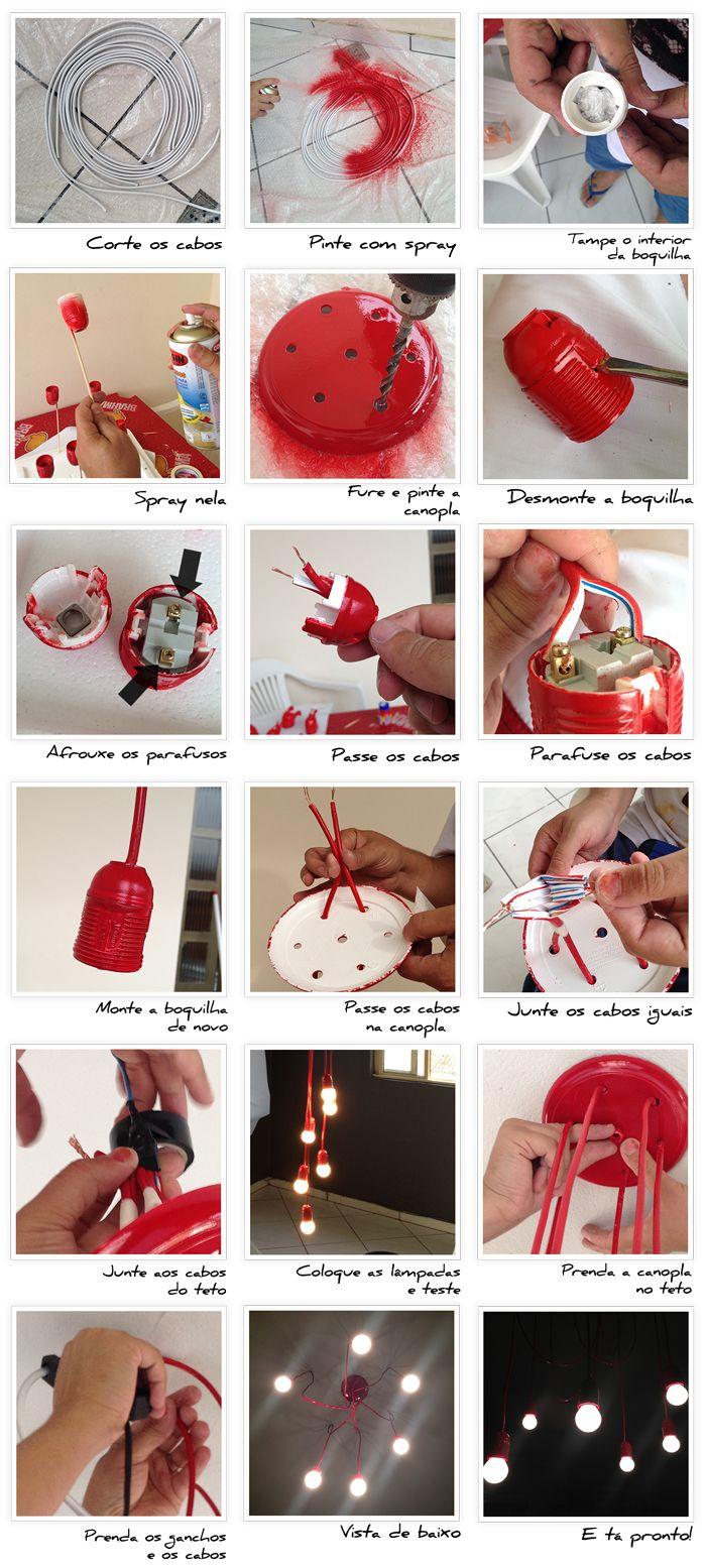 O site homensdacasa.net publicou uma linda e criativa ideia de luminária.Confira o passo a passo e mais informações aqui. Fonte: http://www.homensdacasa.net/luminaria-pendente-faca-voce-mesmo/