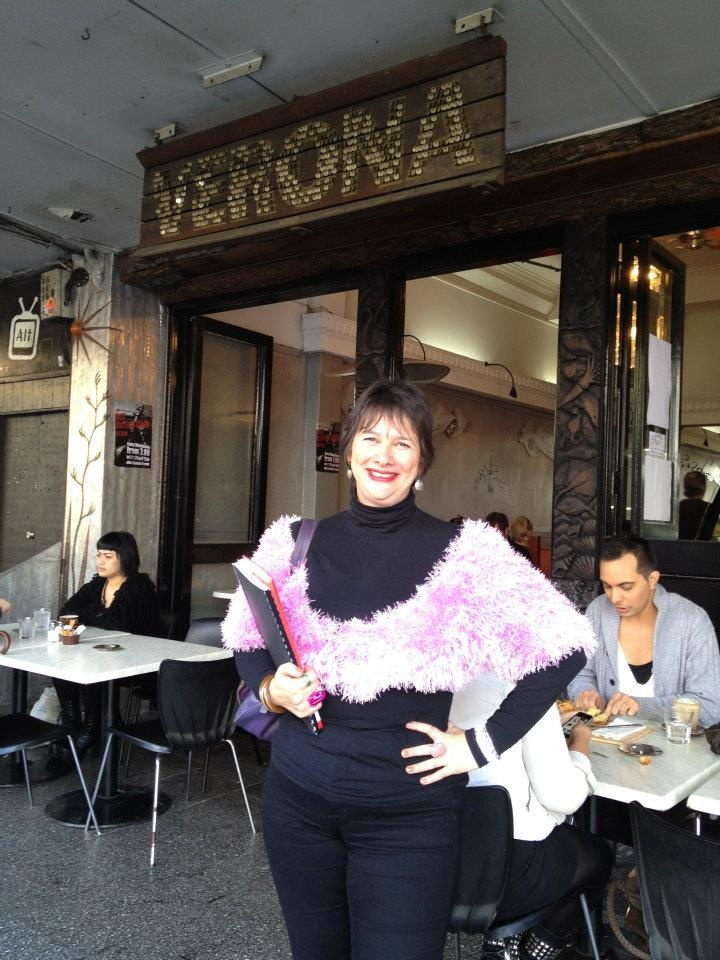 Day 3  Annie in a pink shrug she knitted herself at  http://www.facebook.com/veronacafe