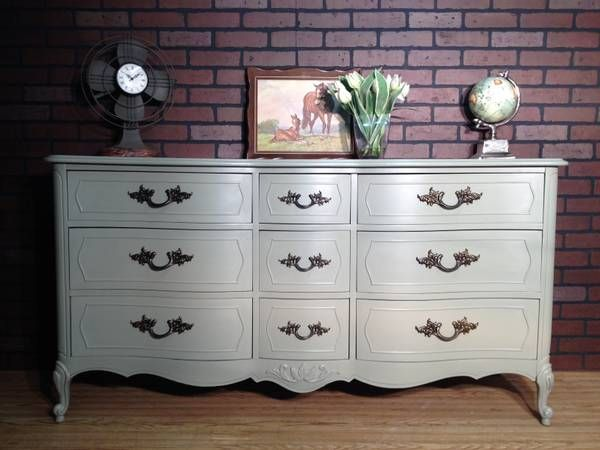 Gray Painted French Provincial Dresser Twice Loved