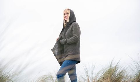 Womens Black Sheep Wool Wrap Sweater