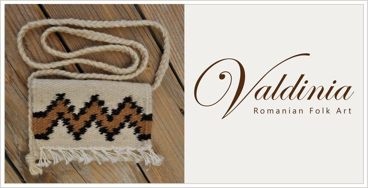 Hand woven woolen small purse - genuine traditional Romanian folk art